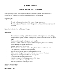 Interior Assistant Sample Interior Designer Job Description 9 Examples In Pdf Word