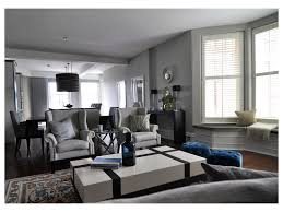 Dark Purple Vase Gray Couch Great Room For Entertaining Light Blue Accents Glass
