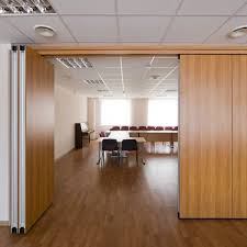 wood partition wooden partition sliding and stacking aluminum for offices
