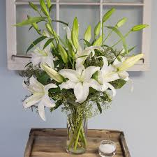 white lillies white vase in cambridge ma coady florist
