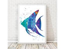 fish watercolor art print ocean painting sea poster fish painting