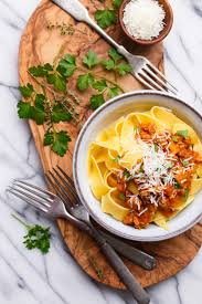 pumpkin bolognese with pappardelle and olive