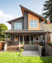mixed siding exterior modern with wood siding single front doors