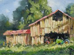 Tom Barn Tom Brown Fine Art Farm Americana Weathered Barn 6x8 Original