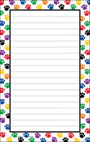 border writing paper colorful paw prints notepad tcr5087 teacher created resources