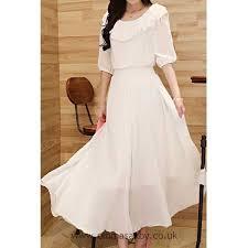 white solid color refreshing v neck long sleeve chiffon maxi dress