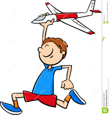 boy with toy plane cartoon stock vector image 62799703