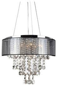 Crystal And Black Chandelier Visalia Chrome And Translucent Black Shade 9 Light Crystal