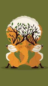 cute fall background wallpaper tap and get the free app art two foxes green trees orange