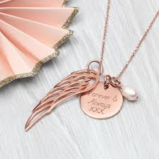 gold wing necklace images Personalised rose or yellow gold angel wing necklace by jpg