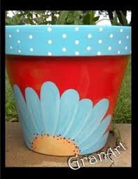 Painting Garden Pots Ideas Pottery Painted Flower Pot Rustic Flower Pot Painted Clay