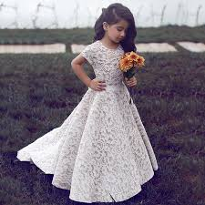 flower girl dress a line neck sleeves sweep ivory lace flower girl