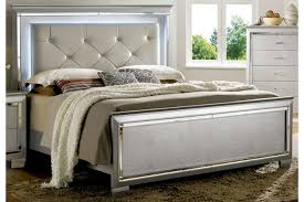 allura silver queen bed by furniture of america cm7979sv q home
