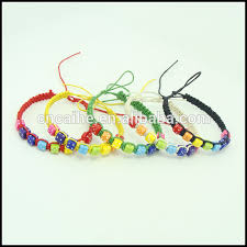 braided bracelet with charms images Pink hand woven friendship bracelets plastic dice charm and wax jpg