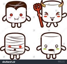 Cartoon Halloween Monsters Halloween Monster Marshmallow Characters Vampire Devil Stock