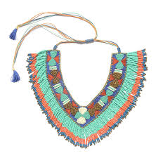 bib necklace beaded images Handcrafted multi color seed bead and fabric v neck bib necklace jpg