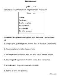 regular er verbs verb conjugation quiz 1 present tense test assessment