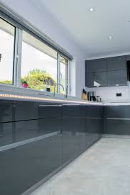 contemporary grey high gloss kitchen belfast stormer designs