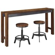 Bar Stool And Table Sets Signature Design By Ashley Torjin 3 Piece Rustic Long Counter
