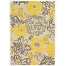 linon trio collection floral grey yellow area rug 5 u0027 x 7