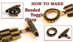 beading necklace clasp images How to make peyote beaded toggle clasp 3d tutorial jpg