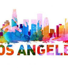 los angeles skyline watercolor decal print l a city sticker