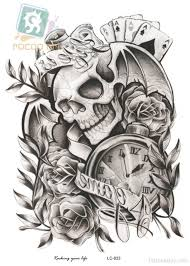 clock and skull tattoo design tattoo designs tattoo pictures