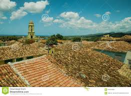roof top view over colonial houses in trinidad cuba stock photo