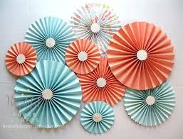 wedding paper fans 9 pc aqua light coral silver rosettes paper fans wedding