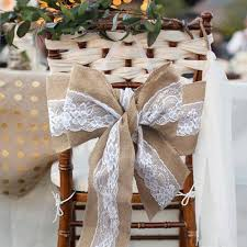 lace chair sashes 275 x 15cm lace bowknot burlap chair sashes hessian jute