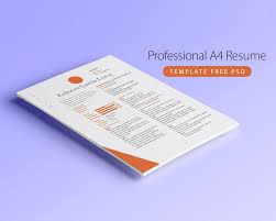 professional a4 resume template free psd download download psd