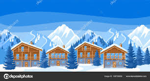 chalet houses alpine chalet houses winter resort illustration beautiful