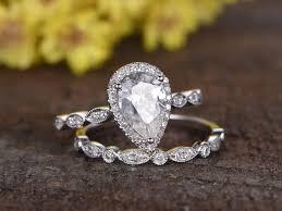 shaped rings images 1 5 carat pear shaped moissanite wedding ring sets diamond art jpg