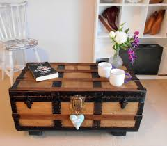 vintage steamer trunk restored pine chest wooden coffee table