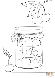 cherry jam jar coloring page free printable coloring pages