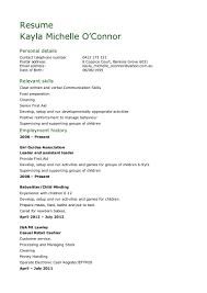 Job Resume For Hotel by Child Care Resume