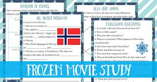 frozen movie study guide free printable worksheets
