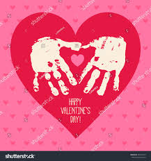 happy valentines day card design handprint stock vector 366437429
