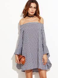gingham bell sleeve bardot dress shein sheinside