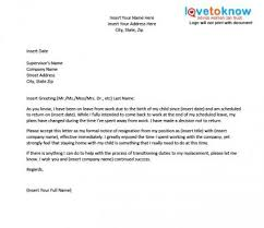 template for a resignation letter after maternity leave lovetoknow