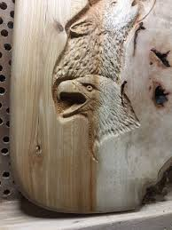 eagle wolf wood carving hand carved wood art lodge decor log