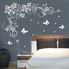 flowers vine butterfly wall stick vinyl wall decals wall quote