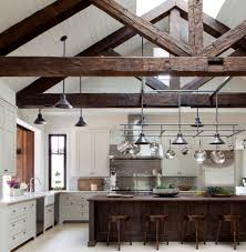 Kitchen Island Construction Kitchen With Vaulted Ceiling Reclaimed Wood Beams Wood Island