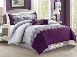 Light Gray Comforter by 7p Zigzag Chevron Curved Embroidery Comforter Set Purple Light