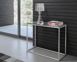 brushed stainless steel console table ryan brushed stainless steel console table clear glass zuri