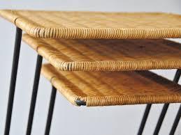 vintage rattan nesting tables vintage modernist rattan nesting tables set of 3 for sale at pamono