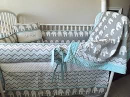 cheap baby bedding sets for boys elephant gray and aqua baby