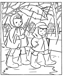spring coloring pages kids rain coloring