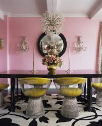 Contemporary Dining Room Lighting Fixtures by Modern Dining Room Light Fixture In A Pink Dining Room With Black