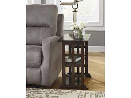 braunsen chair side end table with lattice design u0026 2 shelves